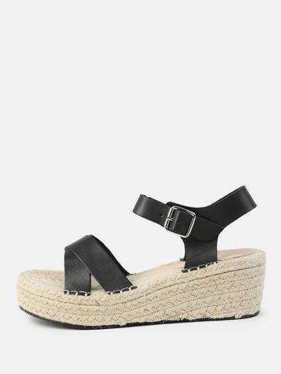 Cross Strap Espadrille Flatform Sandals BLACK