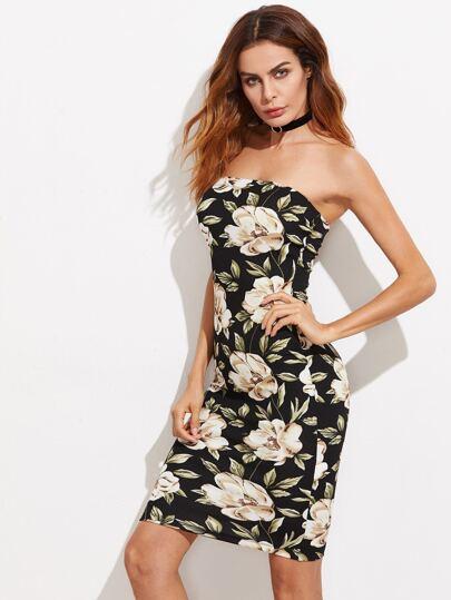 Flower Print Bandeau Dress