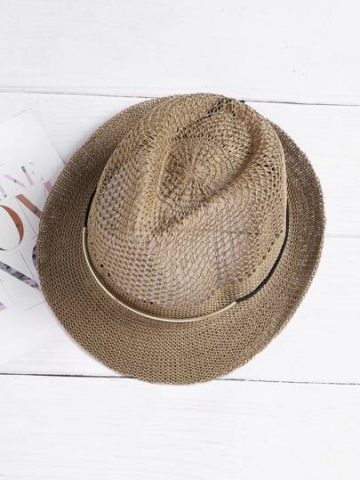 Metal Band Straw Trilby Hat