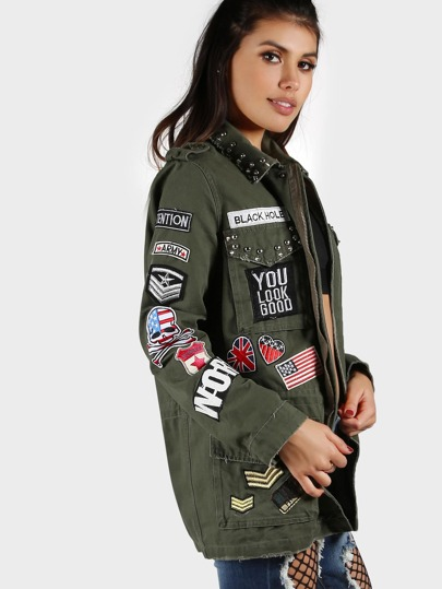 Military Inspired Four Pocket Patched Up Jacket OLIVE