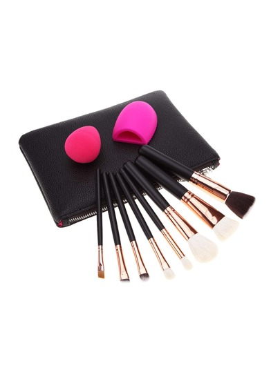 Makeup Brush And Puff Set With Bag