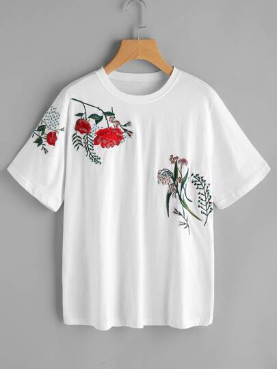 Flower Embroidered Short Sleeve Tee