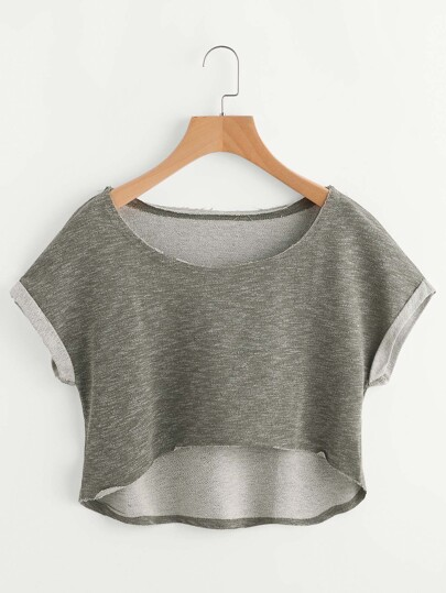 Olive Green Heathered Roll Cuff High Low Crop Tee