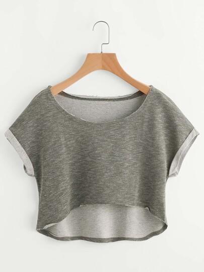 Camiseta corta asimétrica casual - oliva