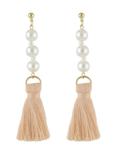 Pink Color Latest Fashion Pearl Thread Tassel Chain Earrings