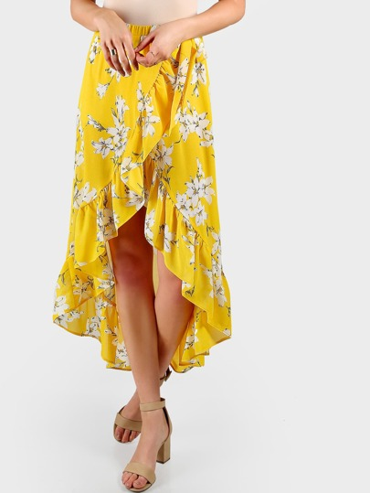Self Tie Frilled Surplice Tulip Skirt