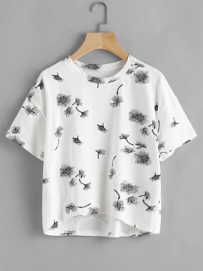 Camiseta estampada de diente de león