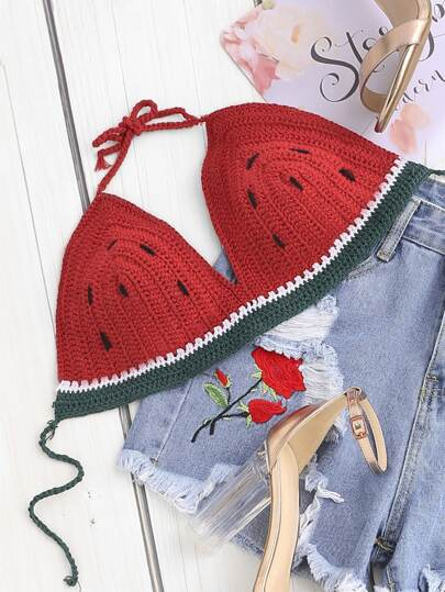 Self Tie Crochet Watermelon Bralette