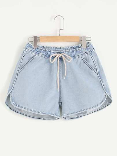 Stitch Detail Dolphin Hem Denim Shorts