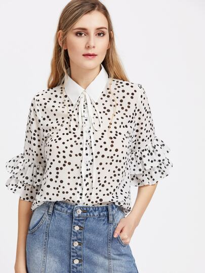 Polka Dot Print Tie Neck Layered Ruffle Sleeve Blouse