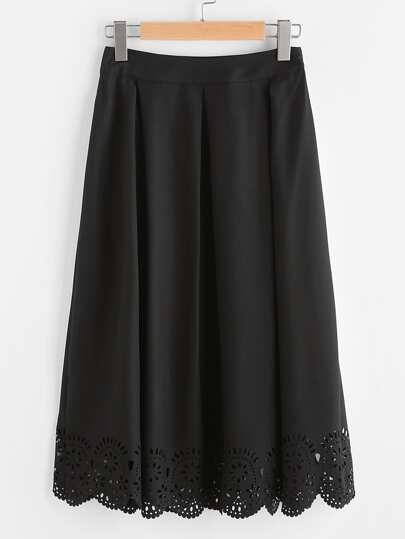Box Pleated Laser Cut Scalloped Hem Skirt