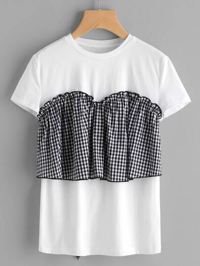 Tie Back Frilled Checkered Bustier T-shirt