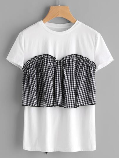 T-shirt contrasto a quadretti