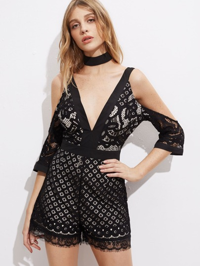 Double Plunge Lace Playsuit With Choker