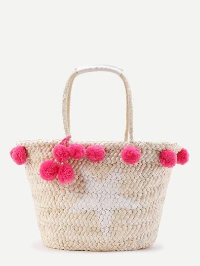 Maxi borsa in paglia con pompon