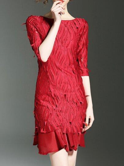 Backless Applique Hollow Shift Dress