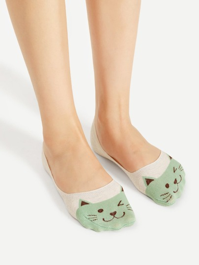 Cat Print Invisible Socks