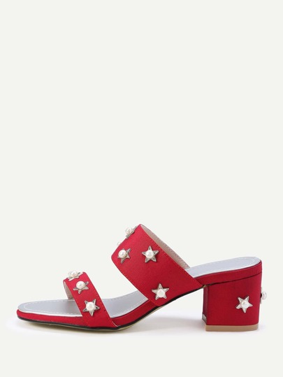 Faux Pearl And Star Chunky Heeled Sandals