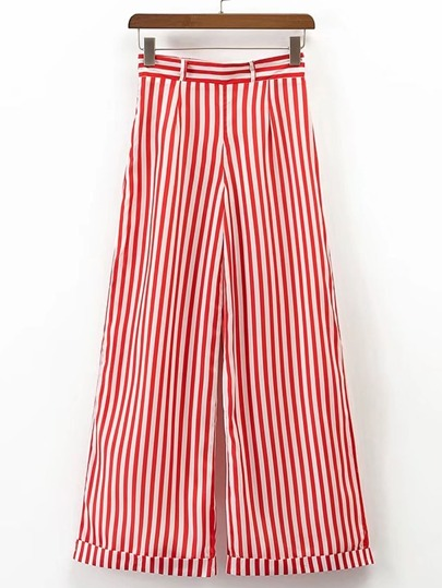 Pantalones de rayas verticales con pernera ancha