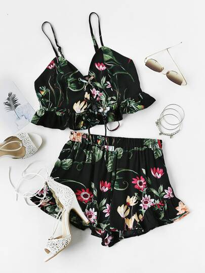 Botanical Print Lace Up Smocked Cami And Ruffle Shorts Co-Ord