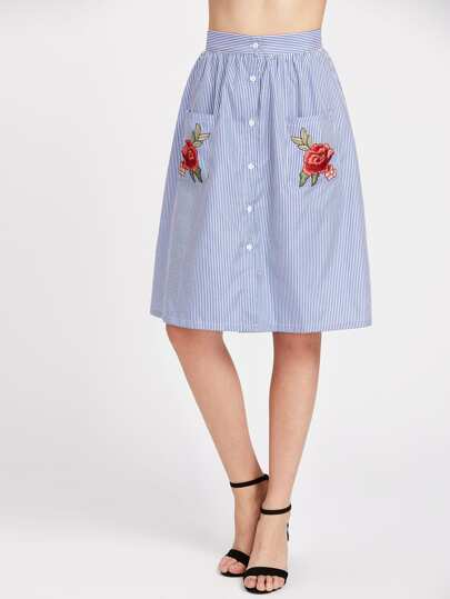 Button Front Striped Skirt With Embroidered Rose Applique Pocket