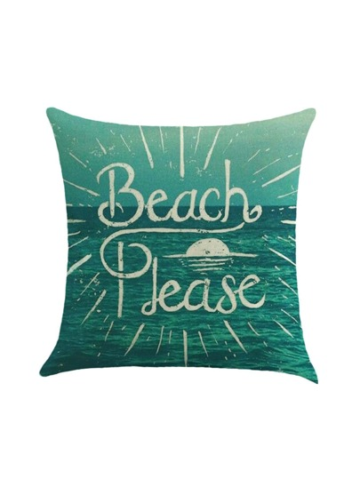Slogan Print Sea Print Pillow Case Cover