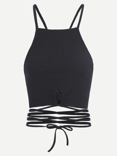 Top corto con cordones - negro
