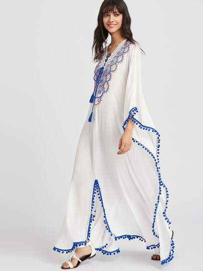 Pom Pom Trim Lace Up Cutout Back Embroidered Poncho Dress