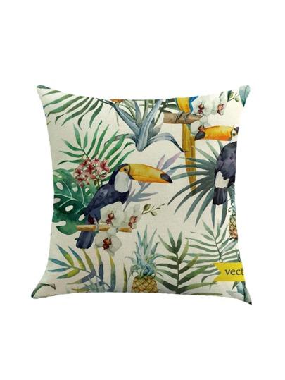 Couvercle de coussin d'impression tropical et oiseau