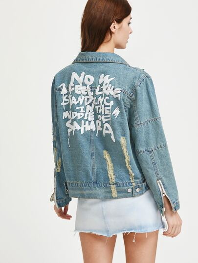 Slogan Print Ripped Zipper Cuff Denim Jacket