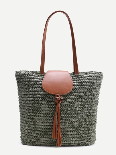 Tassel Detail Straw Tote Bag
