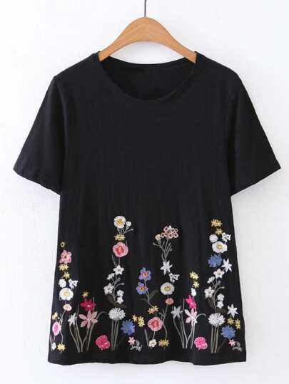 Flower Embroidery Short Sleeve Tee