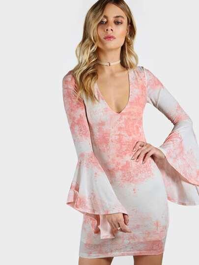Bell Sleeve Dip Dye Dress BLUSH
