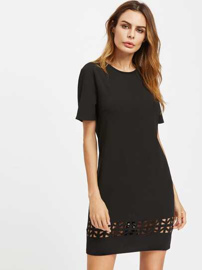 Laser Cut Out Tunic Dress