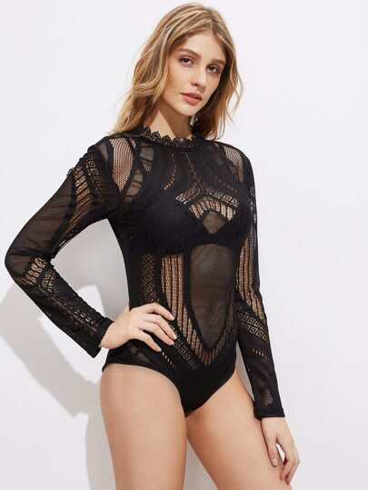 Collier de bande Hollow Out Detail Sheer Bodysuit