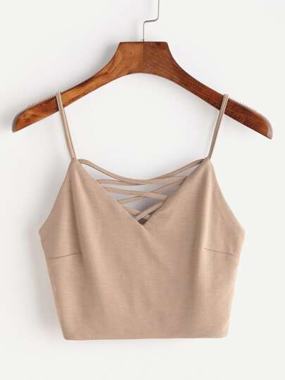 Criss Cross V Neck Zipper Back Cami Top