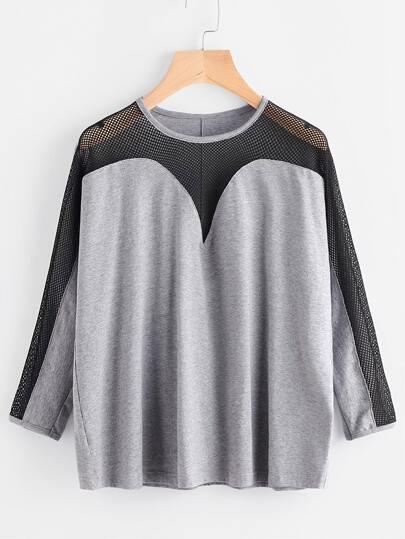 T-shirt contrasté de maille à manches longues -gris bruyère