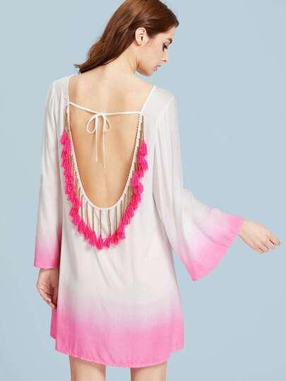 Self Tie Tassel Trim Low Back Ombre Dress