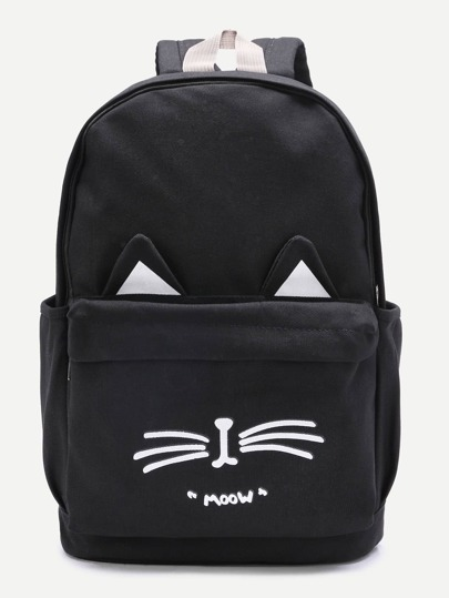 Cat Ear Design Front Pocket Canvas Backpack