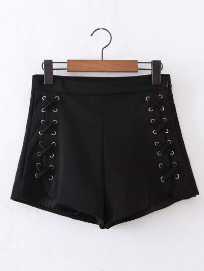 Lace Up Grommet Loose Shorts