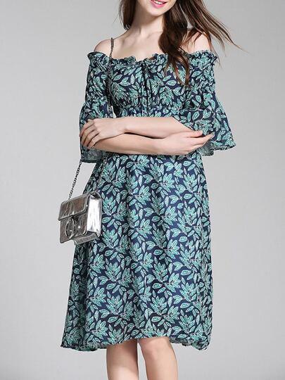 Off Shoulder Bell Sleeve Leaves Print Dress