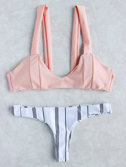 Vertical Striped Mix & Match Bikini Set