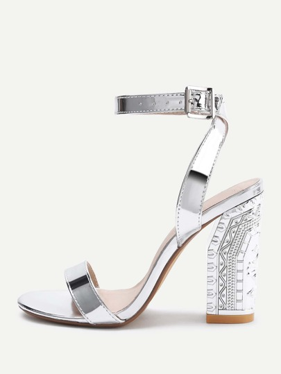 Metallic Two Part Block Heeled Sandals