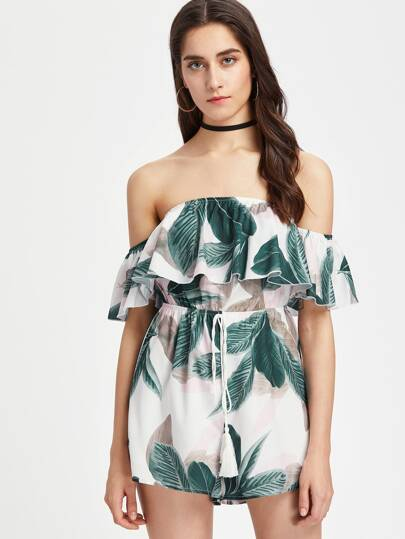 Bardot Tropical Print Playsuit