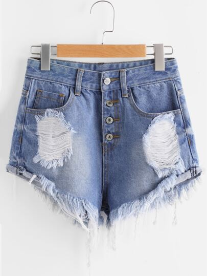 Buttoned Fly Frayed Distressed Denim Shorts