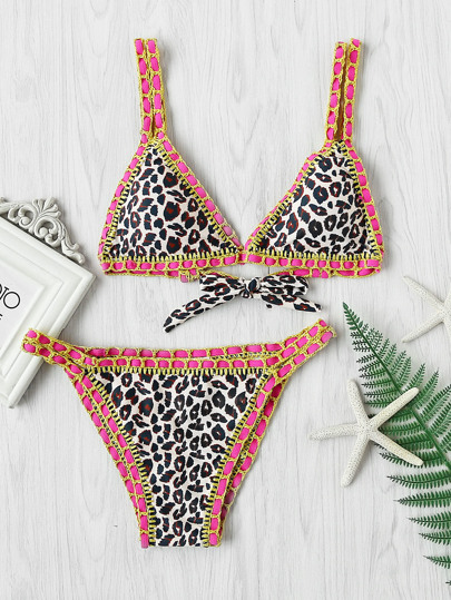 Crochet Trim Leopard Bikini Set