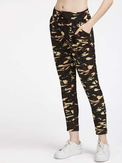 Camouflage Print Drawstring Pants