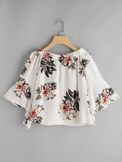 Boat Neckline Floral Print Bell Sleeve Top