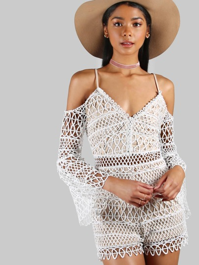 Cold Shoulder Fluted Sleeve Crochet Overlay Playsuit