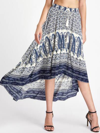 Tassel Tie Waist High Low Paisley Skirt